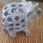 象 透かし彫り ソープストーン インド